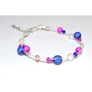 Blue & Pink Glass Pearl Bracelet