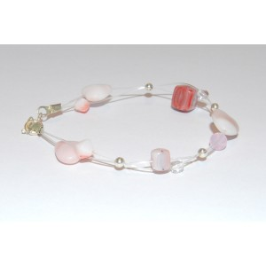 Coral and White Bracelet