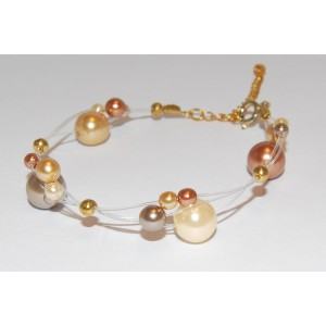 Gold Glass Pearl Bracelet
