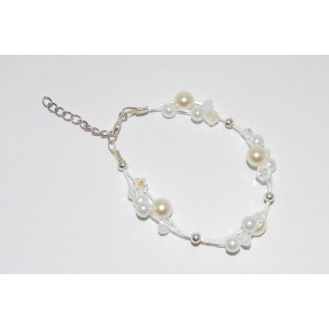 Clear and White Glass Pearl Bracelet