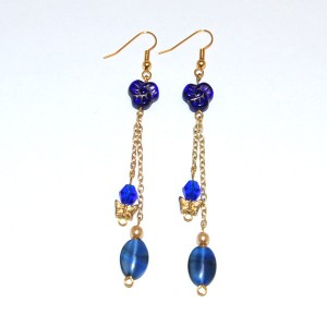 Blue Beads & Butterfly Earrings
