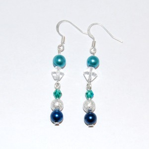 Assorted Blue Glass Pearl Earrings