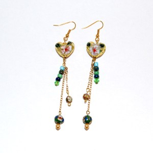 Colourful Heart & Beads Earrings