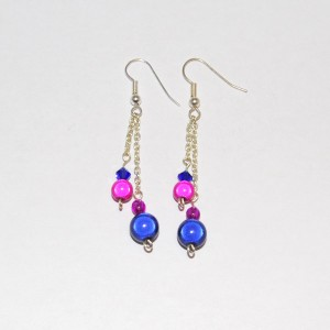 Fuschia & Navy Miracle Bead Earrings