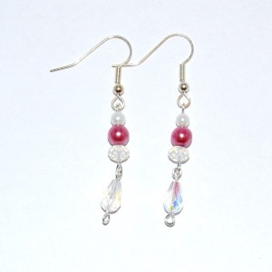 Moonstone & Pink Earrings