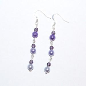 Dangling Purple Glass Bead Earrings
