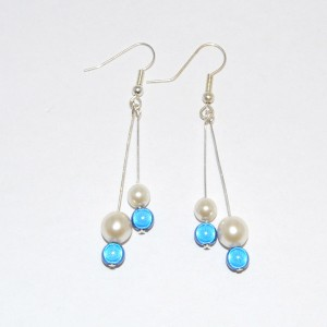 Blue & White Drop Glass Pearl Earrings
