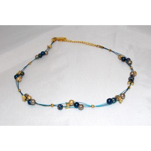 Blue & Gold Glass Pearl Necklace