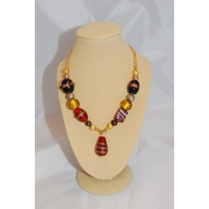 Chunky Red & Gold Beaded Necklace
