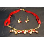 Red Ribbon & Pearl Necklace