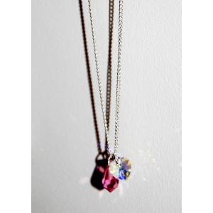 Swarosvki Heart & Pearl Drop Necklace