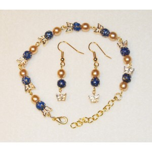 Blue and Gold Butterfly Set